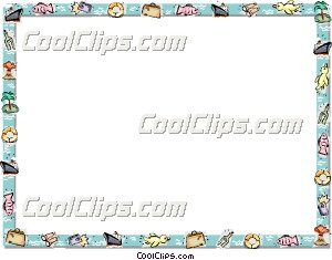 Vacation themed frame Clip Art