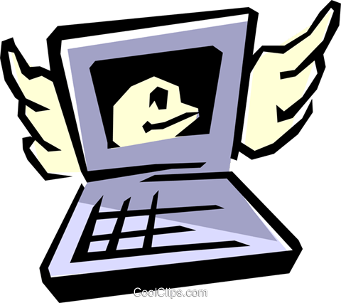 Computer with E-mail Royalty Free Vector Clip Art illustration busi0547