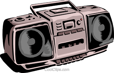 Portable stereo Royalty Free Vector Clip Art illustration hous0675