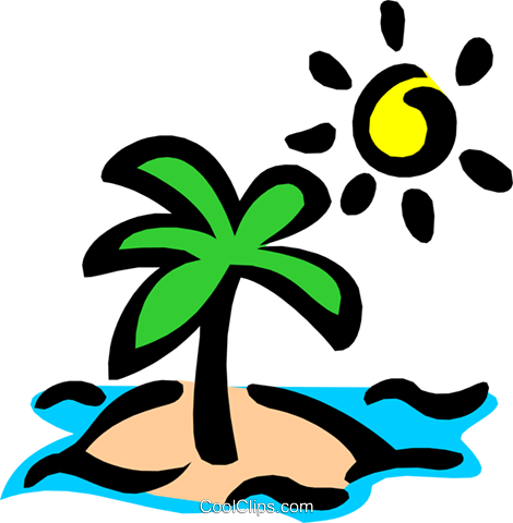 Deserted island Royalty Free Vector Clip Art illustration natu0415