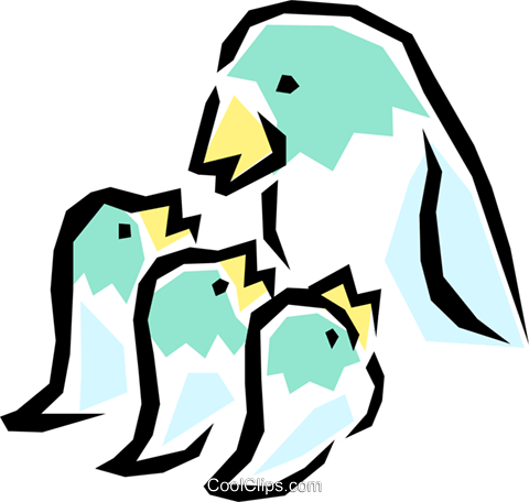 Mother bird with chicks Royalty Free Vector Clip Art illustration anim0822