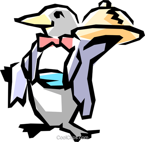 Penguin waiter Royalty Free Vector Clip Art illustration anim0824