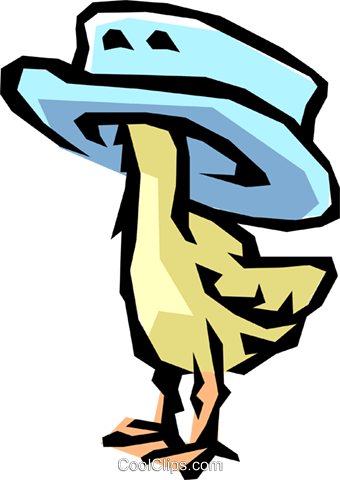 Bird with hat Royalty Free Vector Clip Art illustration anim0826