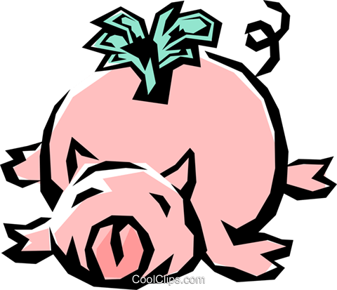 Piggy bank Royalty Free Vector Clip Art illustration busi0553