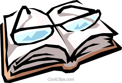Eyeglasses & book Royalty Free Vector Clip Art illustration busi0554