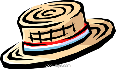 Straw hat Royalty Free Vector Clip Art illustration hous0554