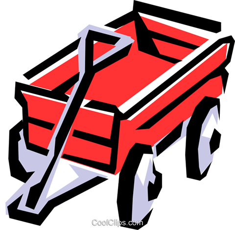 Red wagon Royalty Free Vector Clip Art illustration hous0570