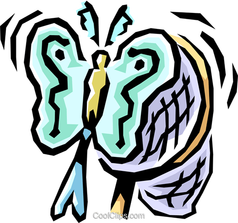 Butterfly with net Royalty Free Vector Clip Art illustration anim0832