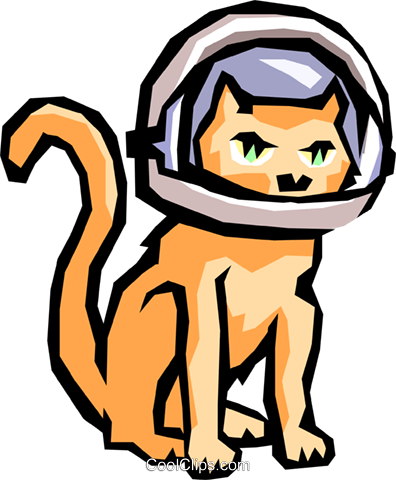 Cat with space helmet Royalty Free Vector Clip Art illustration anim0838