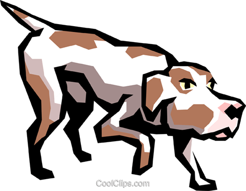 Hunting dog Royalty Free Vector Clip Art illustration anim0841