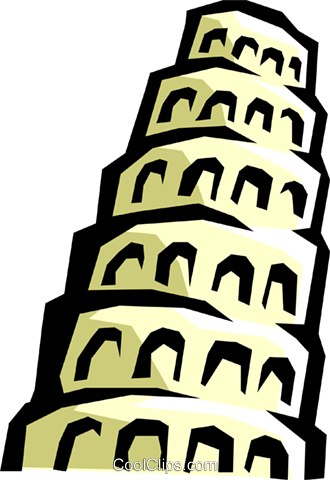 Tower of Babel Royalty Free Vector Clip Art illustration arch0281