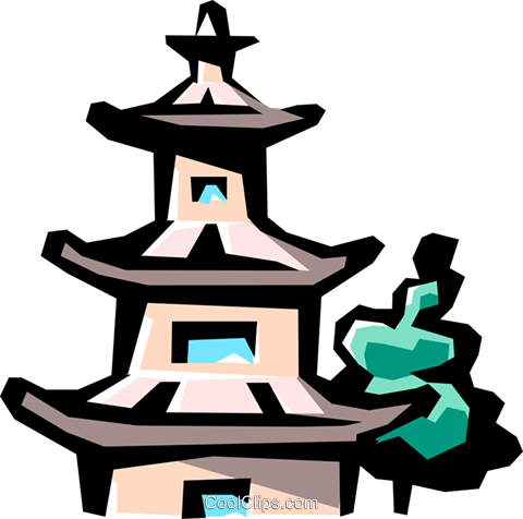 Pagoda Royalty Free Vector Clip Art illustration arch0284