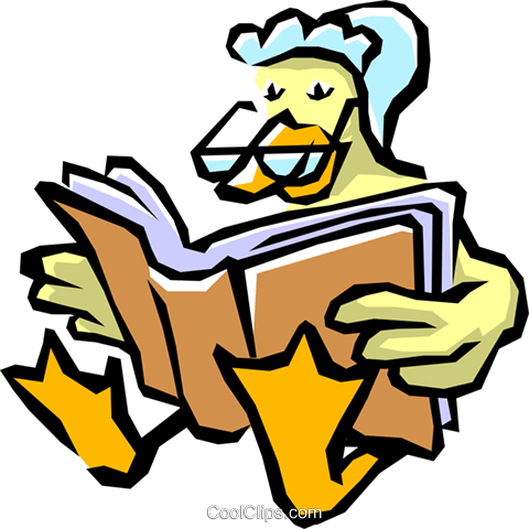 Mother goose reading a book Royalty Free Vector Clip Art illustration even0339