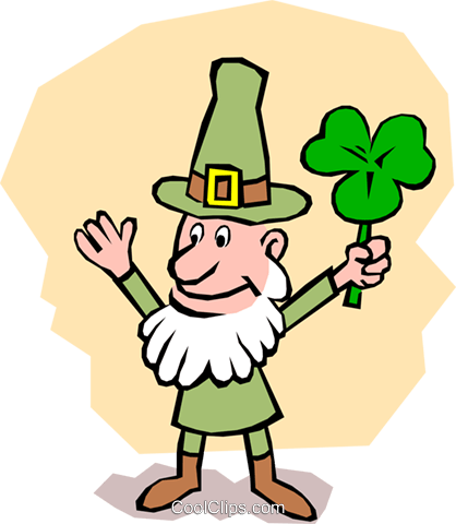 Leprechaun with shamrock Royalty Free Vector Clip Art illustration even0378