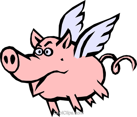 Pig with wings Royalty Free Vector Clip Art illustration even0389