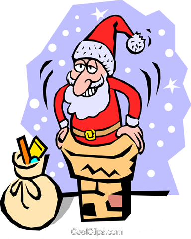 Santa Claus going down the chimney Royalty Free Vector Clip Art illustration even0393