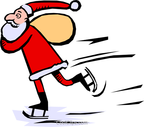 Santa skating Royalty Free Vector Clip Art illustration even0401
