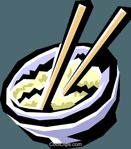 一碗米饭 免版税矢量剪贴画插图