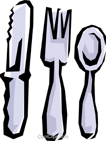 Knife, fork, & spoon Royalty Free Vector Clip Art illustration hous0598