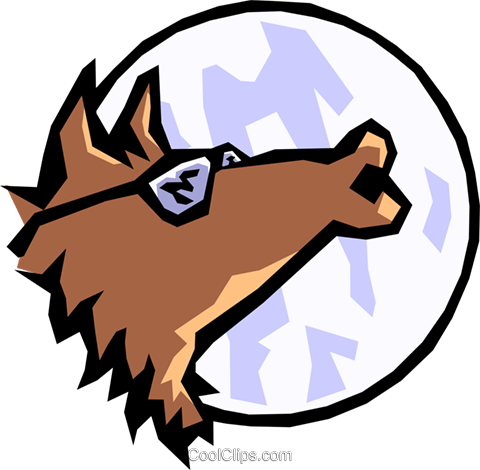 Howling wolf Royalty Free Vector Clip Art illustration natu0369