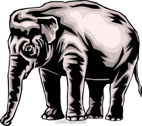 Elephant Royalty Free Vector Clip Art illustration anim0034