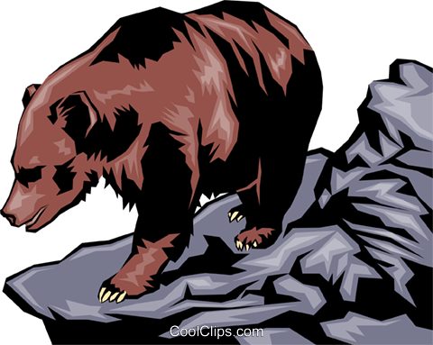 Grizzly bear Royalty Free Vector Clip Art illustration anim0038