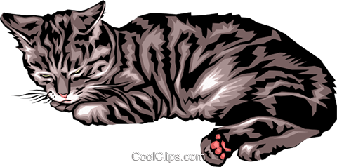 Sleeping cat Royalty Free Vector Clip Art illustration anim0039