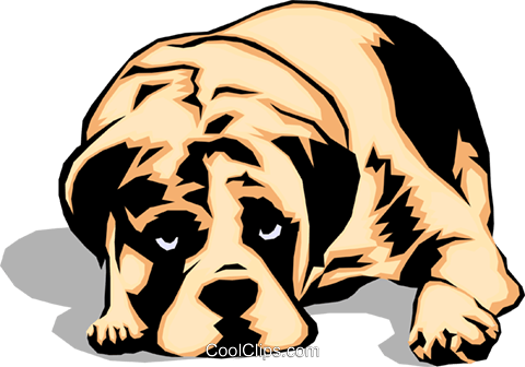 Sad looking Dog Royalty Free Vector Clip Art illustration anim0042