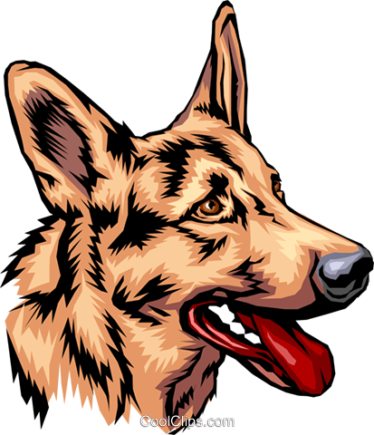 German Shepherd Royalty Free Vector Clip Art illustration anim0069