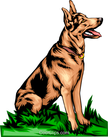 German Shepherd Royalty Free Vector Clip Art illustration anim0074