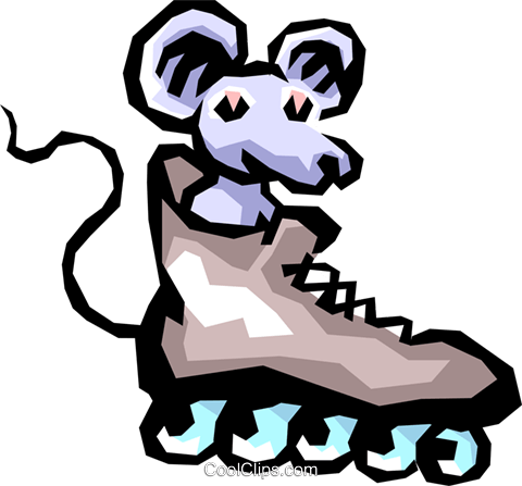 Mouse with roller blades Royalty Free Vector Clip Art illustration anim0843