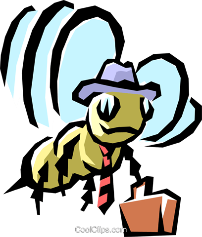 Worker bee Royalty Free Vector Clip Art illustration anim0844