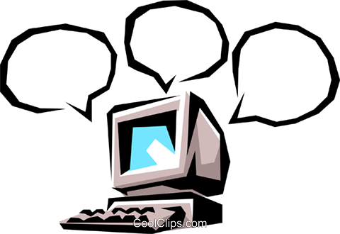 Computer with word balloons Royalty Free Vector Clip Art illustration busi0137
