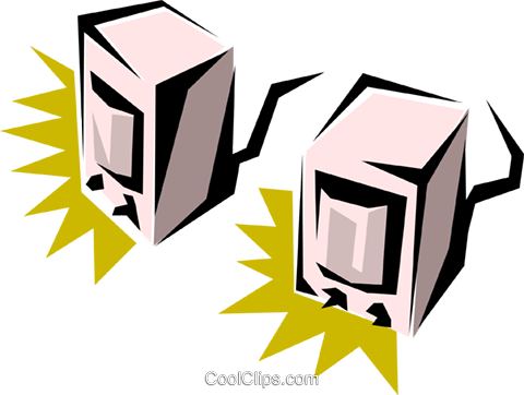 Computer speakers Royalty Free Vector Clip Art illustration busi0150