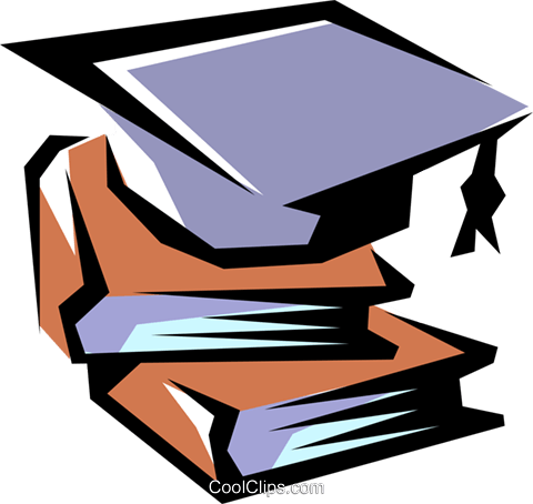Books with graduation cap Royalty Free Vector Clip Art illustration busi0600