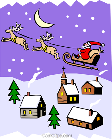 Santa's sleigh in Christmas scene Royalty Free Vector Clip Art illustration even0404
