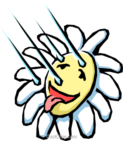 Flower with raindrops Royalty Free Vector Clip Art illustration natu0377