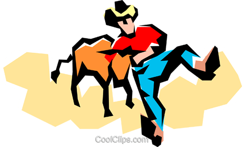 Rodeo cowboy with a steer Royalty Free Vector Clip Art illustration peop1330