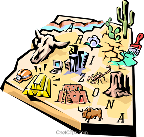 Arizona vignette map Royalty Free Vector Clip Art illustration worl0513