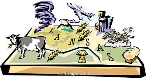 Kansas vignette map Royalty Free Vector Clip Art illustration worl0515