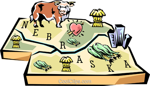 Nebraska vignette map Royalty Free Vector Clip Art illustration worl0521