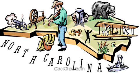 North Carolina vignette map Royalty Free Vector Clip Art illustration worl0523