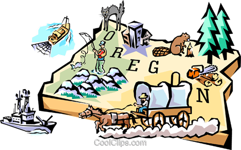 Oregon vignette map Royalty Free Vector Clip Art illustration worl0524