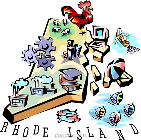 Rhode Island vignette map Royalty Free Vector Clip Art illustration worl0526