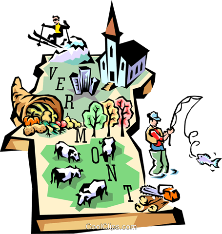 Vermont vignette map Royalty Free Vector Clip Art illustration worl0530