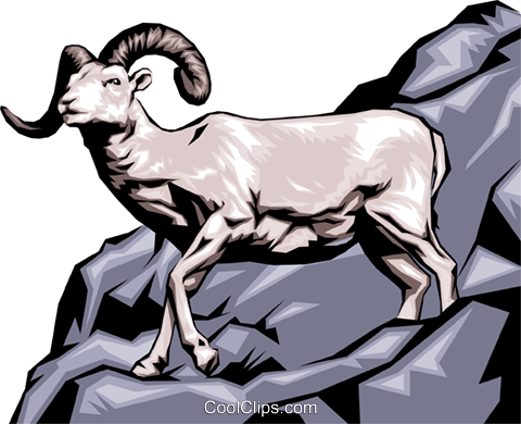 Mountain Goat Royalty Free Vector Clip Art illustration anim0108
