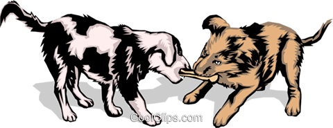 Puppies playing Royalty Free Vector Clip Art illustration anim0115