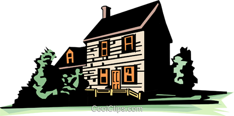 Farmhouse Royalty Free Vector Clip Art illustration arch0051