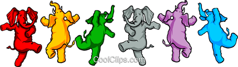 Dancing elephants Royalty Free Vector Clip Art illustration even0094