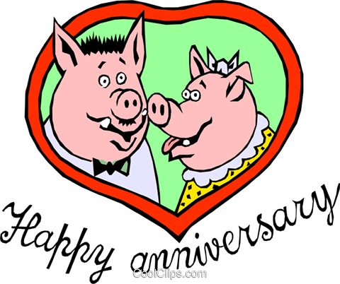 Happy Anniversary Schweine Vektor Clipart Bild even0405